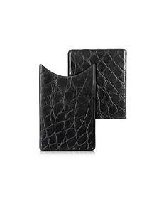 Crocodile-Embossed Leather Card Case - Peroni