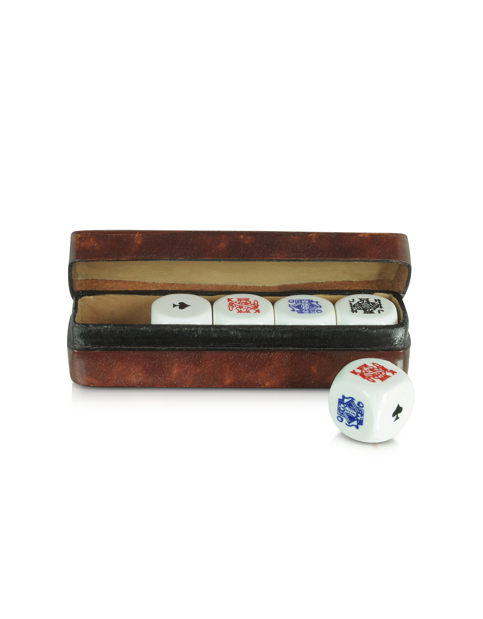 Forzieri Small Leather Goods, Poker Dice with Leather Carrying Case
