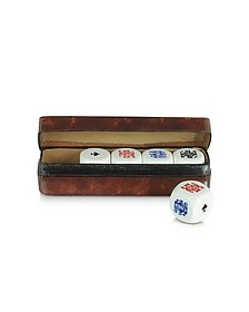 Poker Dice with Leather Carrying Case - Forzieri