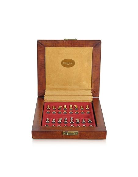 Forzieri Schachbrett aus echtem Leder mit Magneten