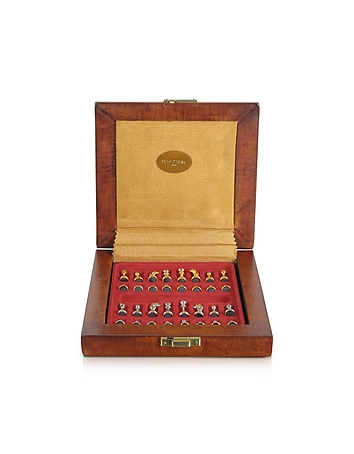 Forzieri - Genuine Leather Chess Board with Magnetic Pieces