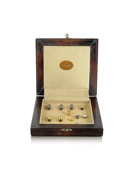 Forzieri Backgammon-Spiel aus echtem Leder mit magnetischen Teilen