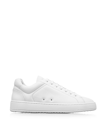 Low 4 White Pebble Leather Men's Sneaker