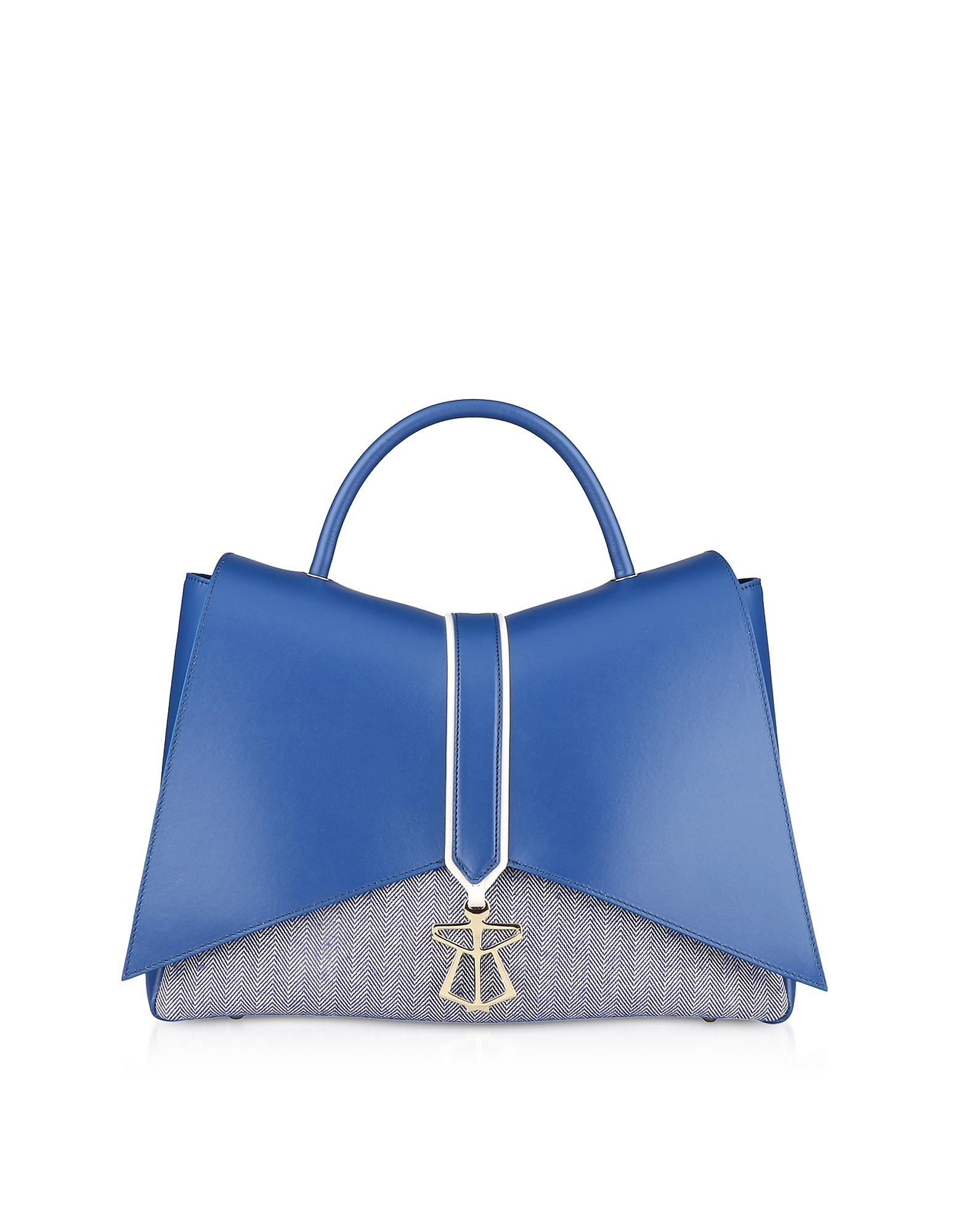 Lara Bellini Designer Handbags, Blue Canvas Kiki Top Handle Satchel Bag