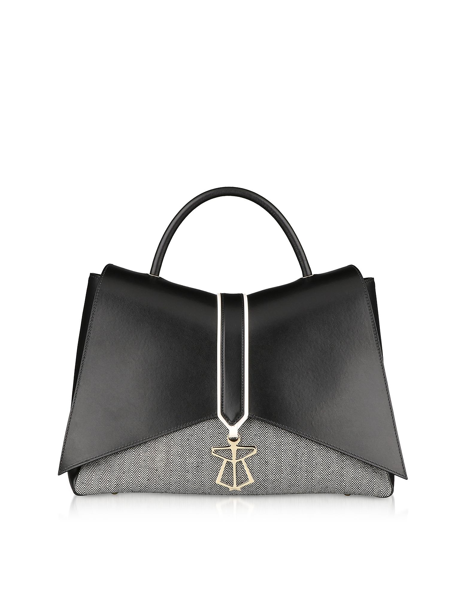 Lara Bellini Designer Handbags, Black Canvas Kiki Top Handle Satchel Bag