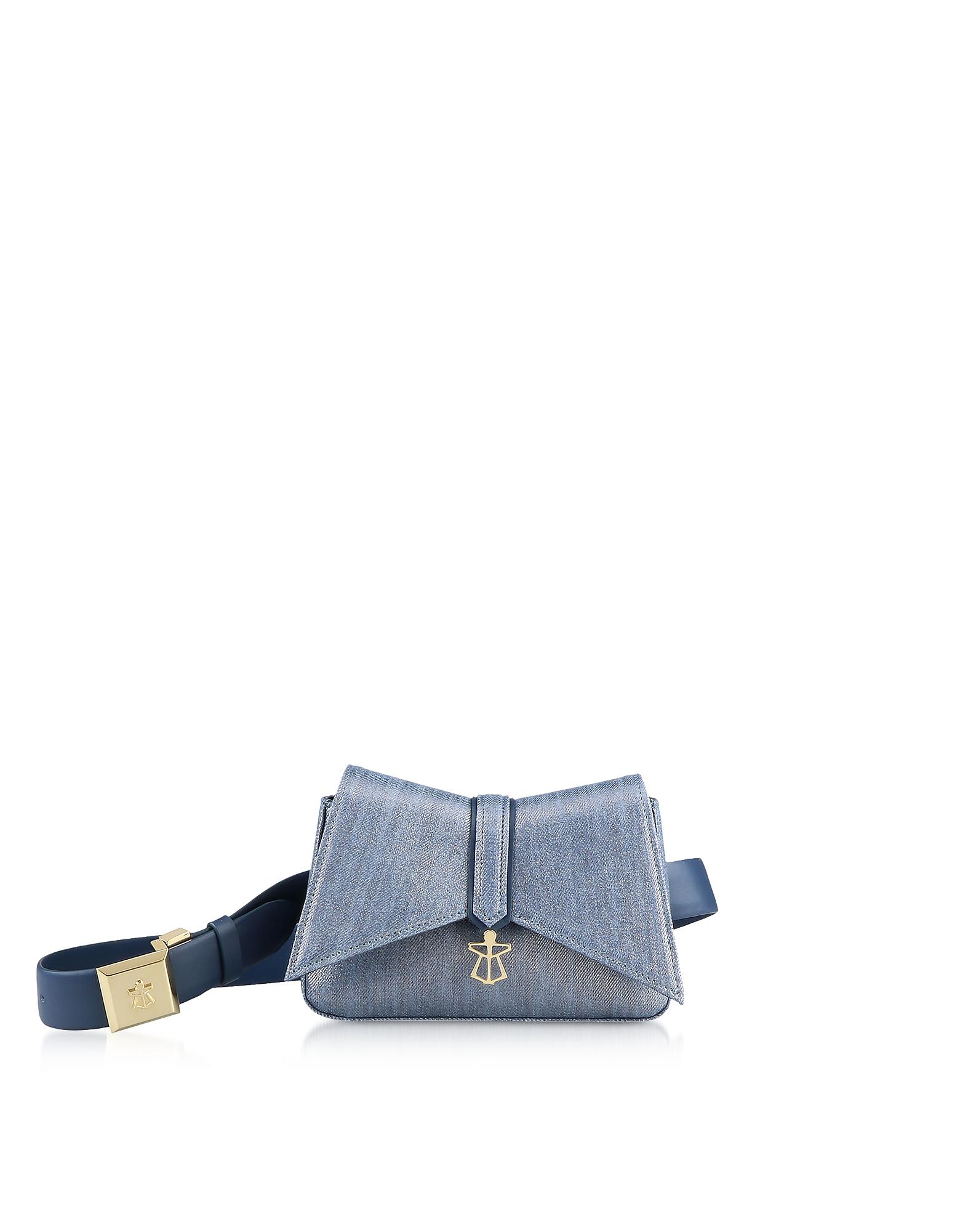 Lara Bellini Designer Handbags, Denim Blue Kiki Micro Belt Bag