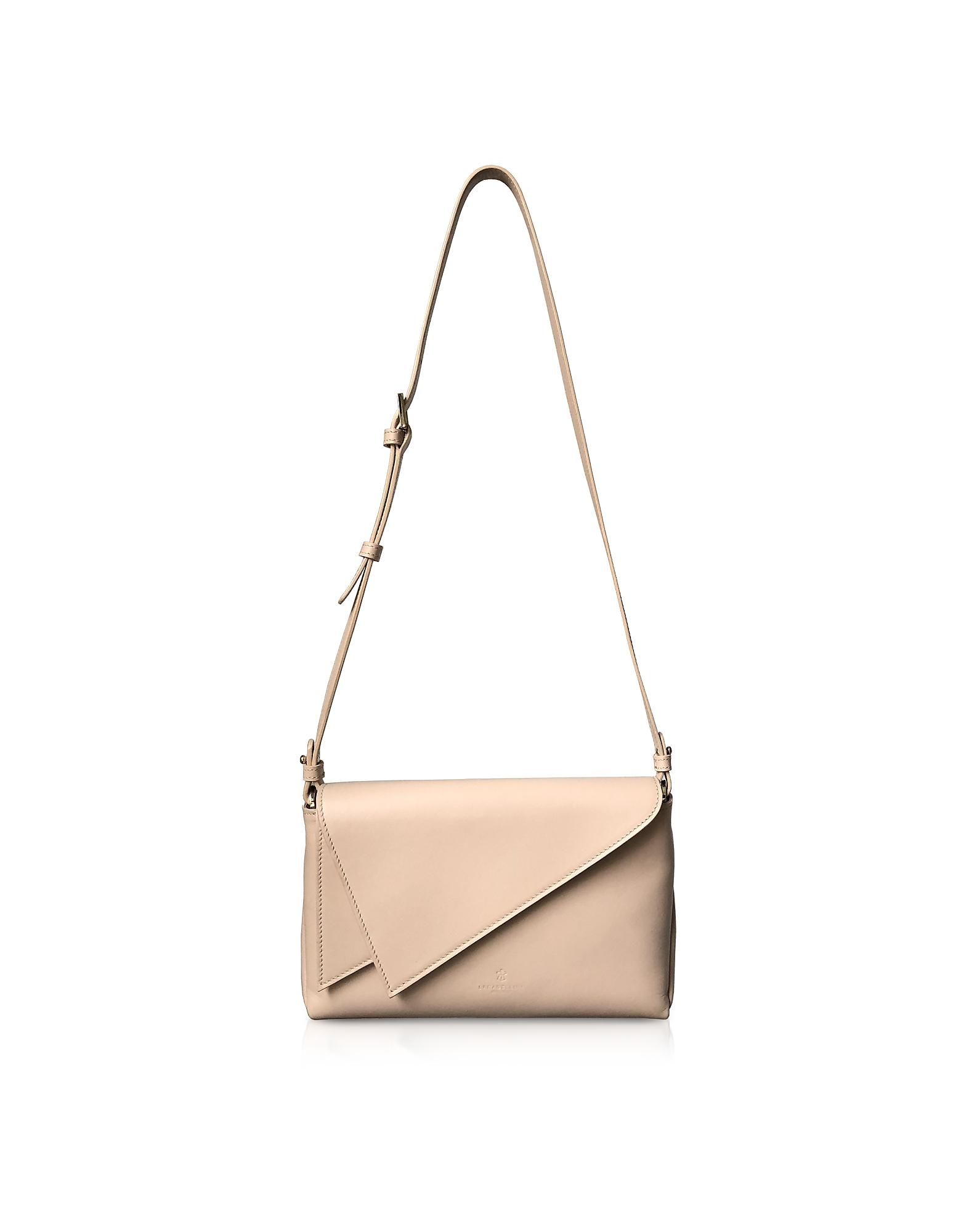 Lara Bellini Designer Handbags, Pink Leather Flip Mini Shoulder Bag