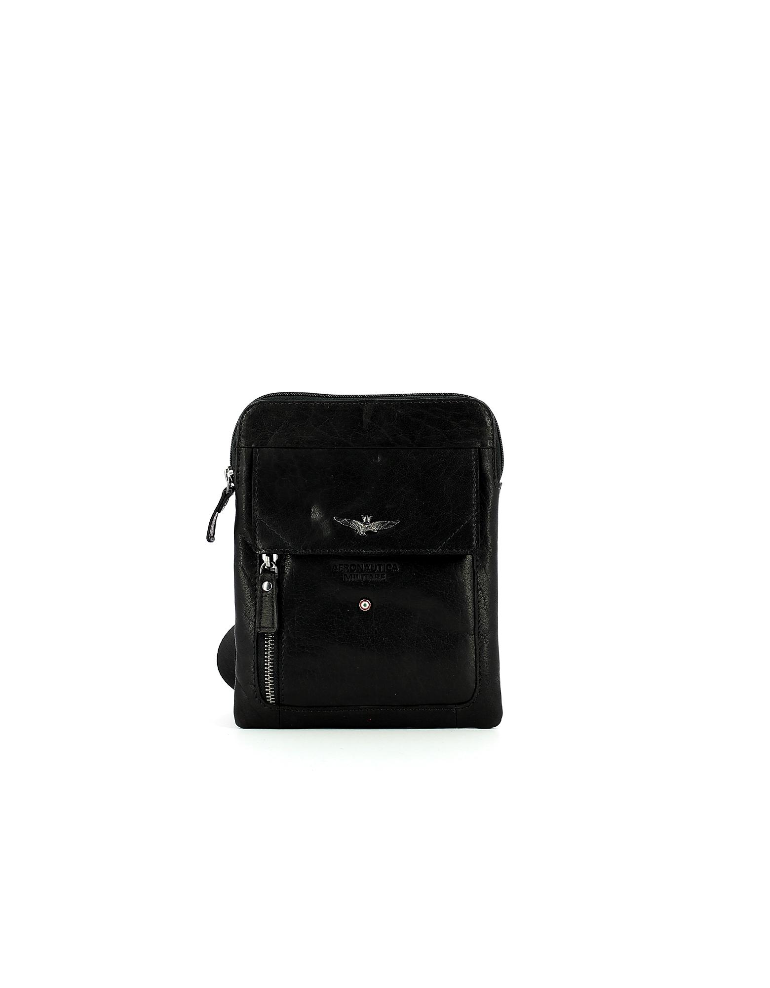 Aeronautica Militare Designer Handbags, Black Crossbody Bag