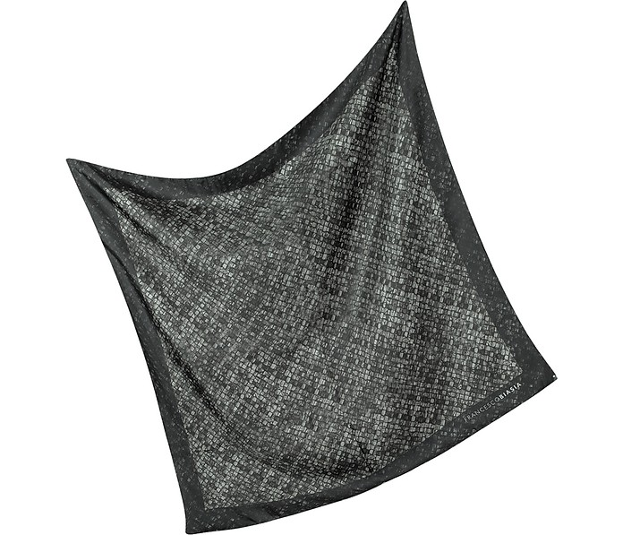 Woven Leather Print Silk Scarf - Francesco Biasia
