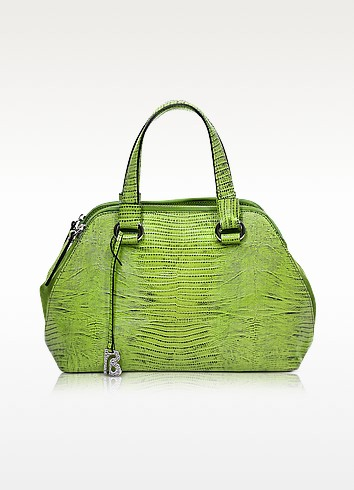 Pigalle Lime Green Lizard Embossed Leather Tote - Francesco Biasia