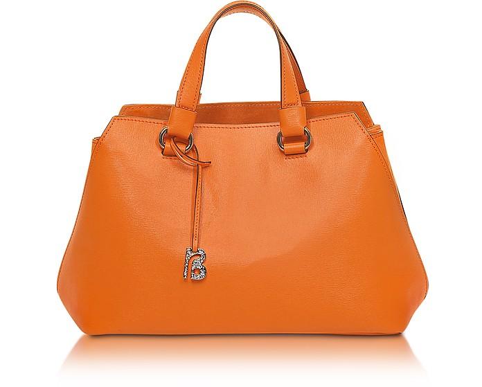 Pigalle Orange Saffiano Leather Tote - Francesco Biasia