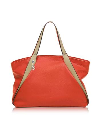 Sorbonne Coral Red Leather Tote