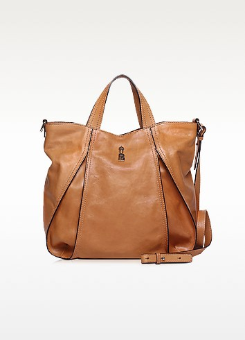 Copacabana Brown Leather Tote - Francesco Biasia