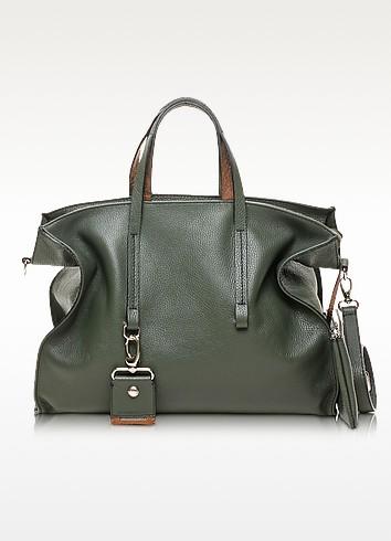 Electrical Large Leather Tote w/Shoulder Strap - Francesco Biasia