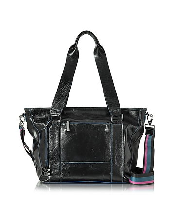 Georgia Black Leather Top Zip Tote Bag