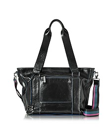 Georgia Black Leather Top Zip Tote Bag - Francesco Biasia