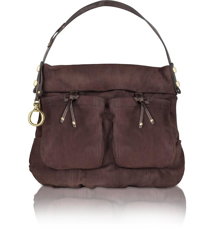 Jane - Large Suede Hobo Bag w/ Front Pockets - Francesco Biasia