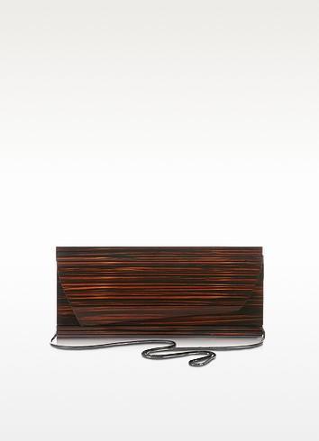 Cape Code Dark Brown Wooden Clutch - Francesco Biasia