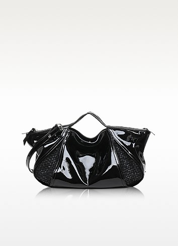 Copacabana Patent and Woven Leather Tote w/Shoulder bag - Francesco Biasia