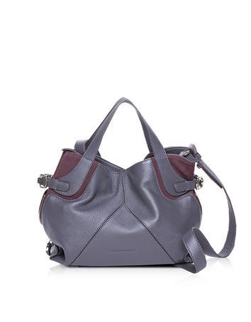Only One Color Block Leather Shoulder Bag