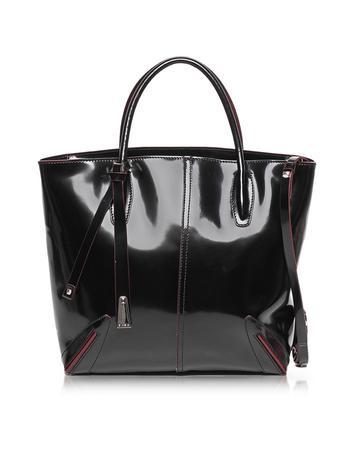 Charlotte Patent Leather Tote w/Shoulder Strap