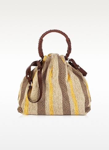 Miramar - Striped Woven Fabric Satchel - Francesco Biasia