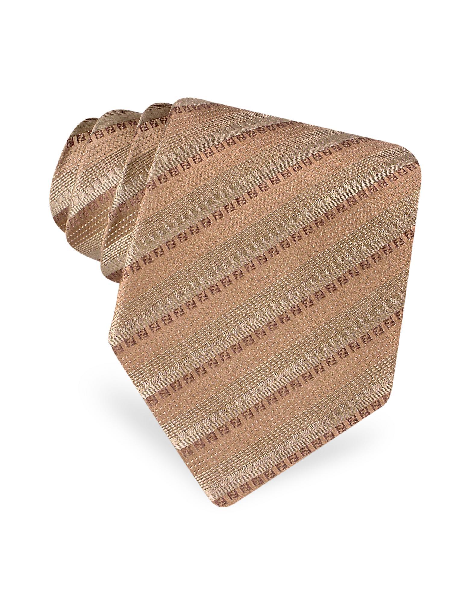 Fendi  FF Logo Diagonal Stripe Woven Silk Tie