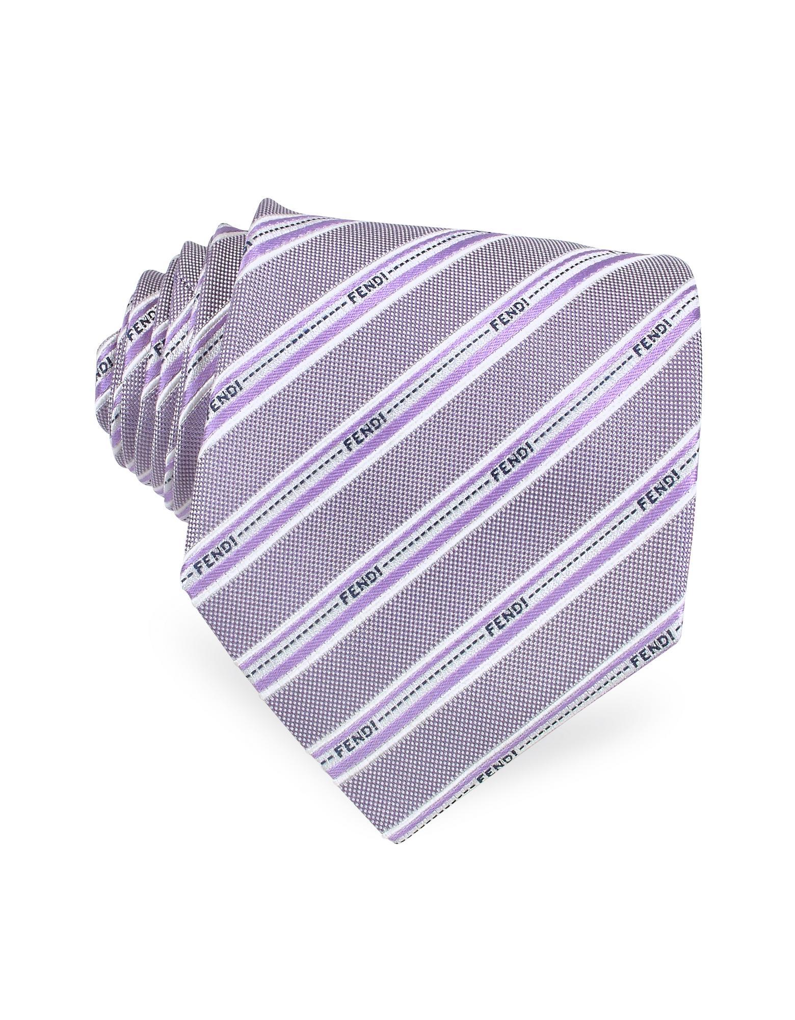 Fendi  Signature Ribbon Bands Woven Silk Tie
