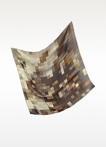 Zucchino Pixel Silk Square Scarf - Fendi