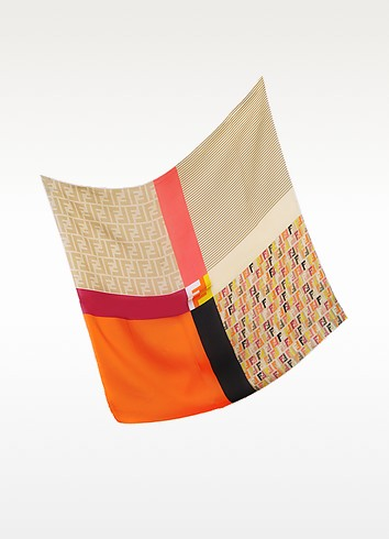Technicolor Satin Silk Square Scarf - Fendi