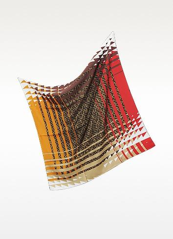 Zucca Pop Twill Silk Square Scarf - Fendi