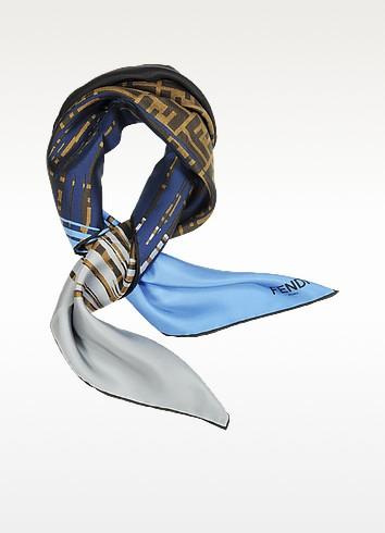 Multicolor Signature Square Silk Scarf - Fendi