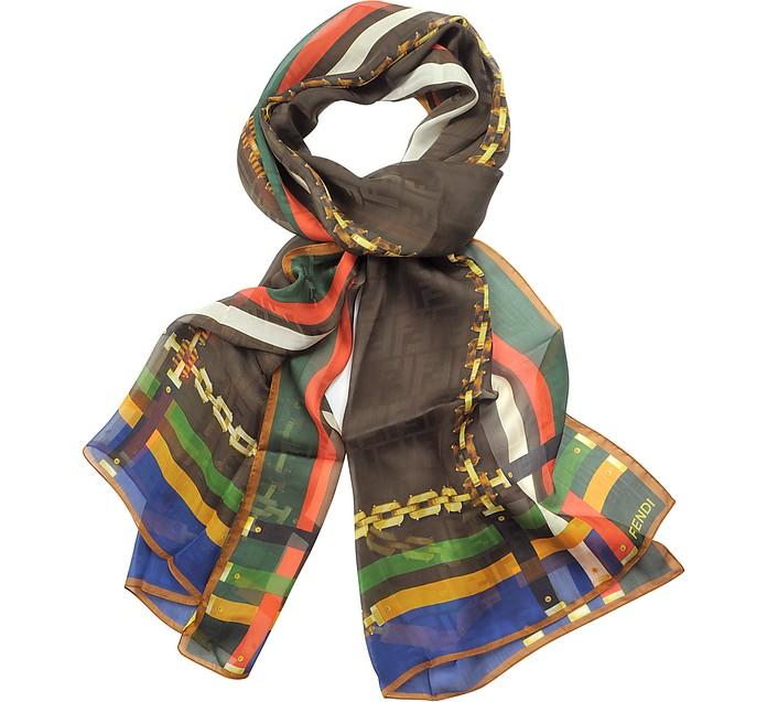 Chain Print Silk Stole - Fendi