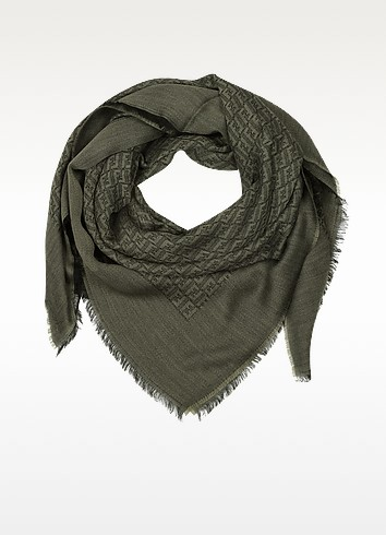 All-Over Zucchino Oversize Wool/Viscose Scarf - Fendi
