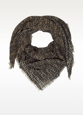 Oversized Zucca Wool Wrap - Fendi