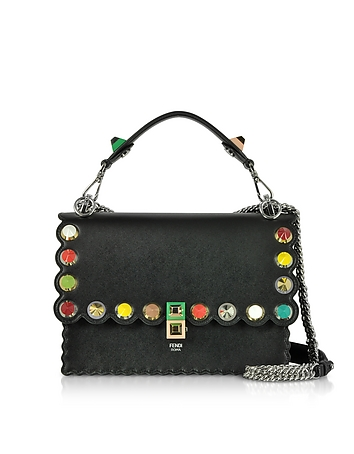Kan I Studs Black Leather Shoulder Bag