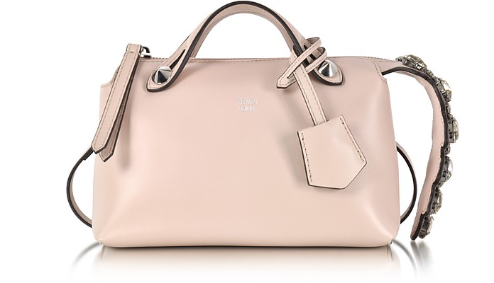 Soft Pastel Pink Leather Mini By The Way Boston Bag w/Smoky Quartz Crystals - Fendi