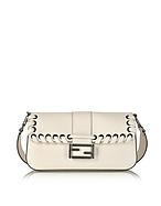 Fendi Baguette Camellia-white Calfskin Shoulder Bag fd130217-006-00