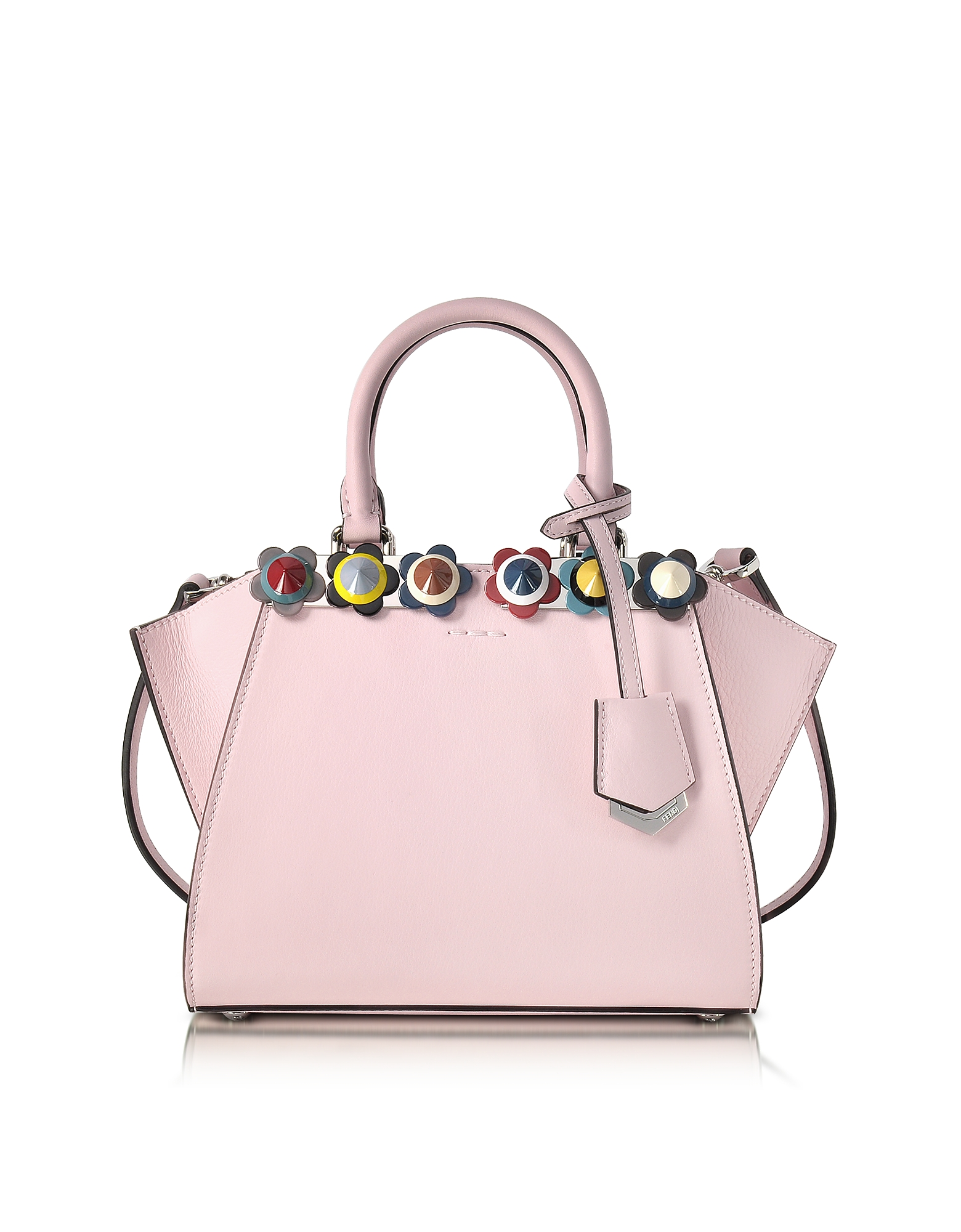 Fendi Mini 3Jours - Розовая Кожаная Сумка Tote с Радужными Цветами