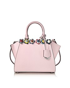 Mini 3Jours Pink Leather Tote Bag w/Plexy Flowers - Fendi