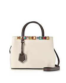 Petite 2Jours Camellia Leather Tote Bag w/Rainbow Studs - Fendi