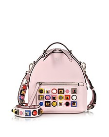 Pink Leather Small Backpack w/Rainbow Studs - Fendi