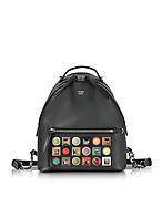 Fendi Black Leather Small Backpack w/Rainbow Studs fd130217-012-00