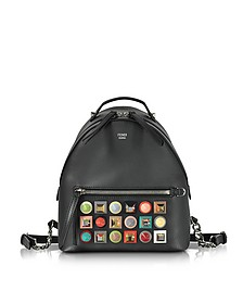 Black Leather Small Backpack w/Rainbow Studs - Fendi