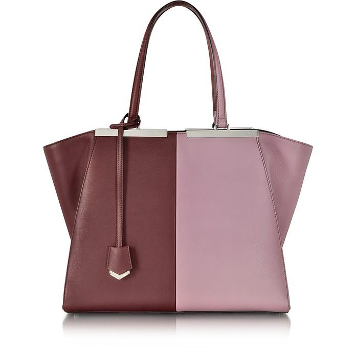 Large Bordeaux and Pink 3Jours Calfskin Shopping Bag w/Palladium Metalware - Fendi