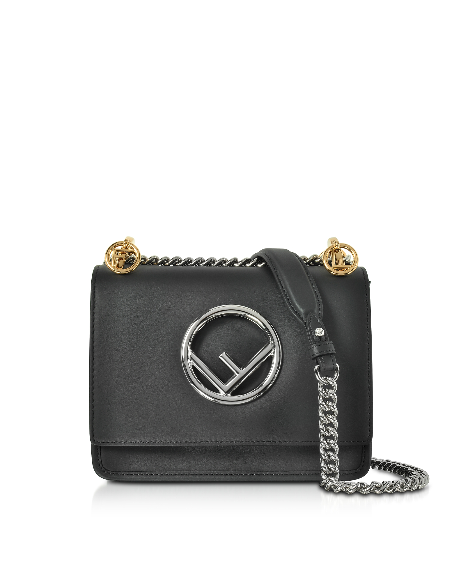 Fendi Handbags, Kan I F Small Black Leather Shoulder Bag