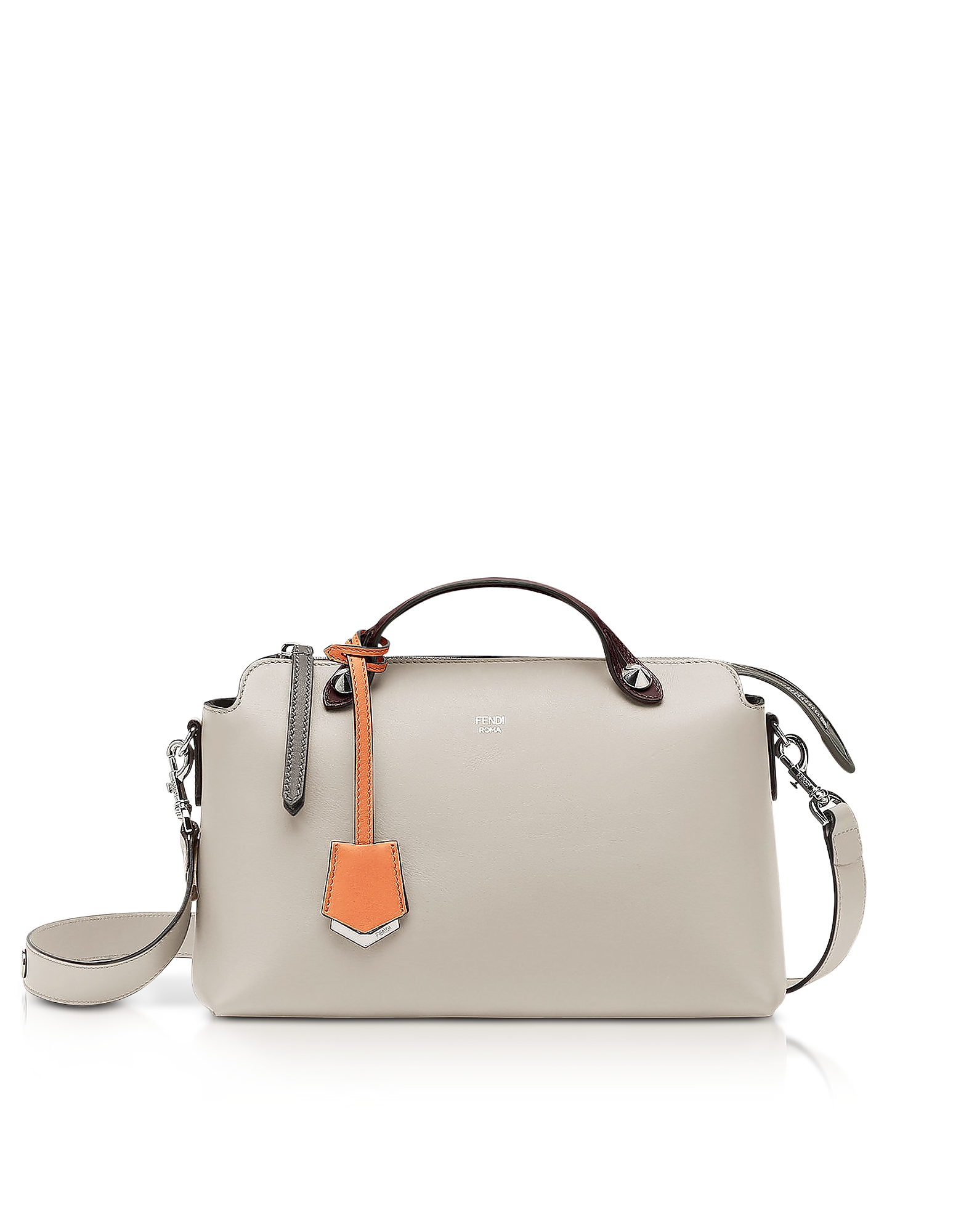 Fendi Handbags, By The Way Regular Dust Gray Leather Satchel Bag