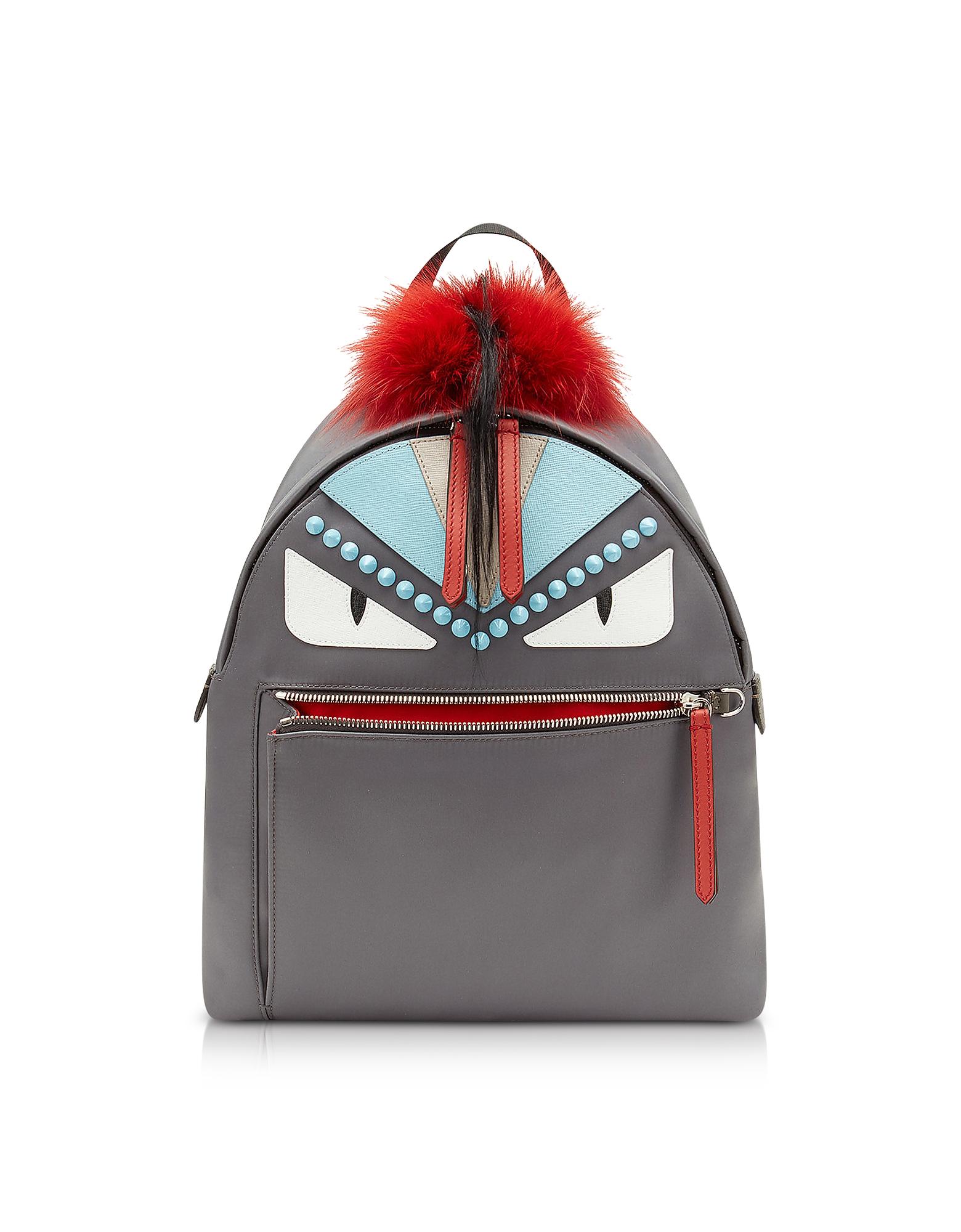 Fendi Handbags, Steel Gray Fabric and Red Fur Backpack w/Studs