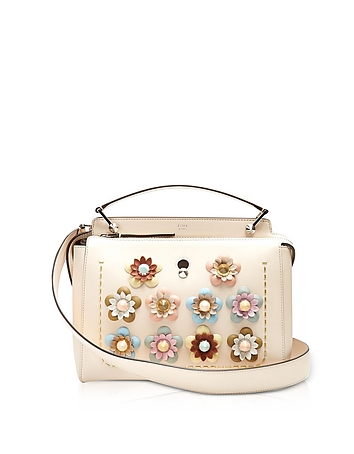 Dotcom Click Blush Pink Leather Satchel Bag w/Flowers fd130517-018-00