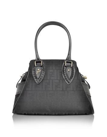cb8a25052e76 zoom view Video Fendi Black Small Bag De Jour Zucca Canvas Bag